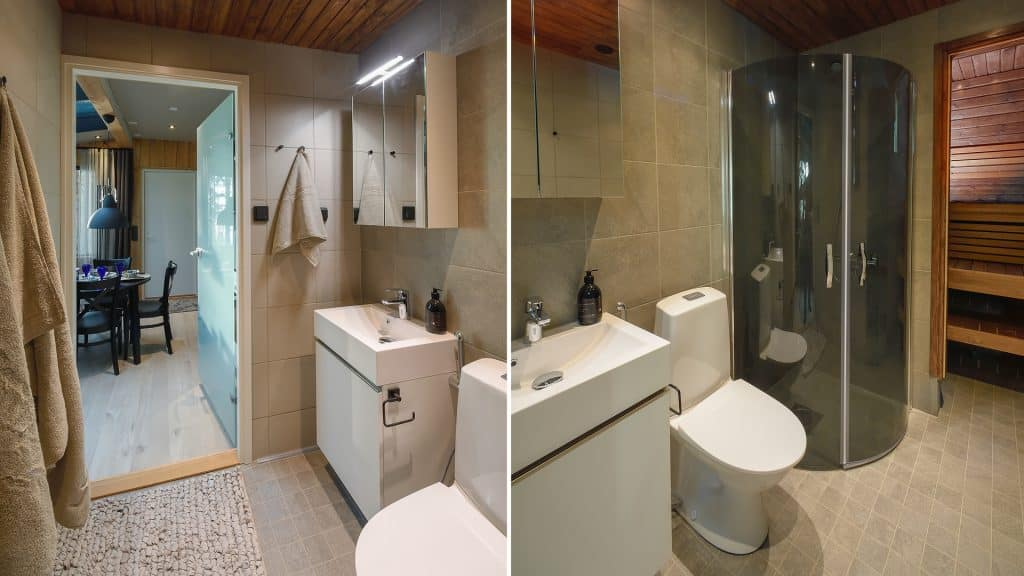 SAAGA-mökin kylpyhuone