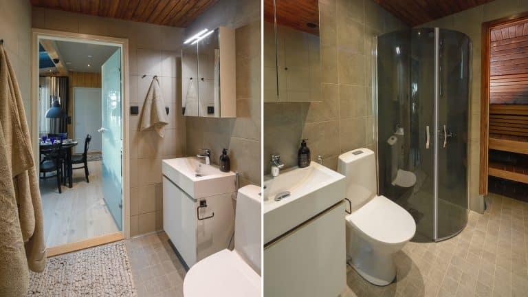 SAAGA-elämysmökki pitää sisällään täysin varustellun kylpyhuoneen ja saunan